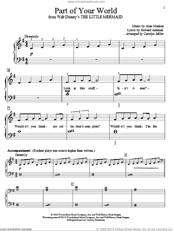Part Of Your World (from The Little Mermaid) sheet music for piano solo (elementary) by Alan Menken, Carolyn Miller, The Little Mermaid (Movie) and Howard Ashman, beginner piano (elementary)