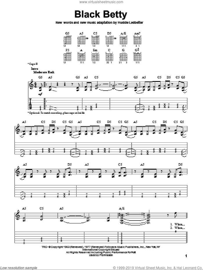 Black Betty sheet music for guitar solo (easy tablature) by Ram Jam, Lead Belly and Huddie Ledbetter, easy guitar (easy tablature)