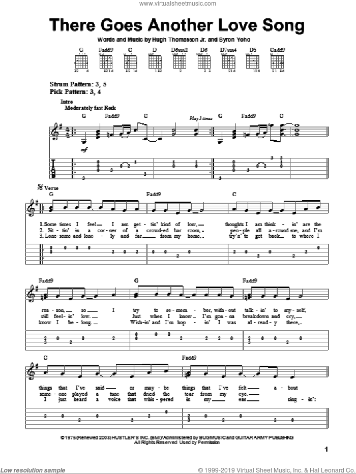 There Goes Another Love Song sheet music for guitar solo (easy tablature) by Outlaws. Score Image Preview.