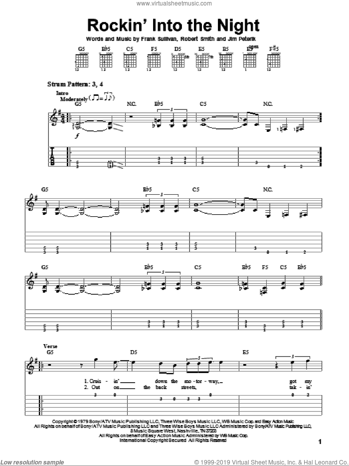 Rockin' Into The Night sheet music for guitar solo (easy tablature) by 38 Special, Frank Sullivan, Jim Peterik and Robert Smith, easy guitar (easy tablature)