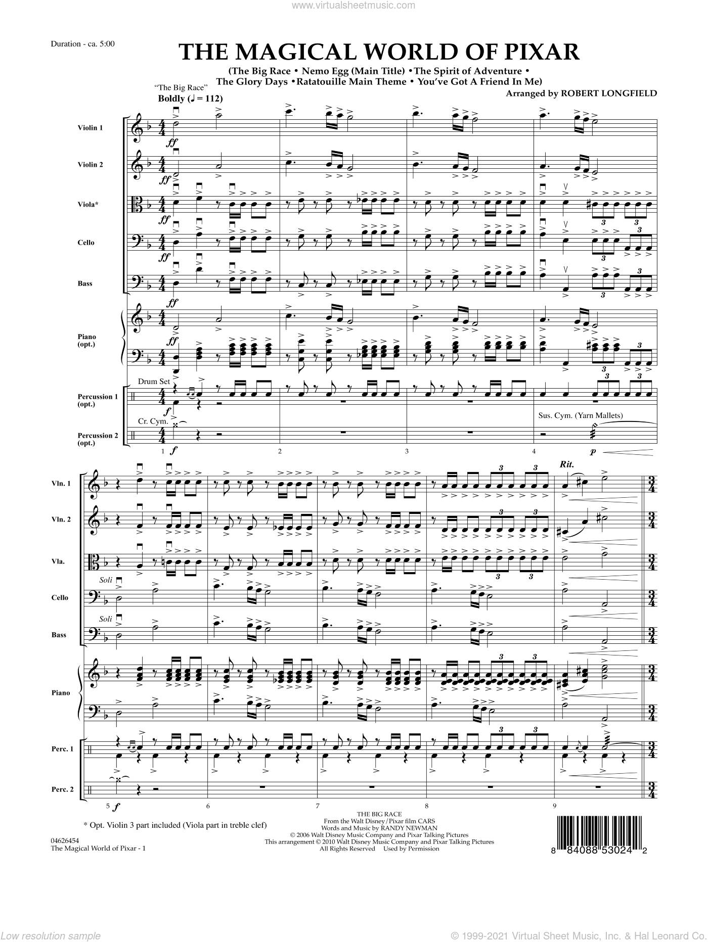 The Magical World Of Pixar sheet music for orchestra (full score) by Robert Longfield