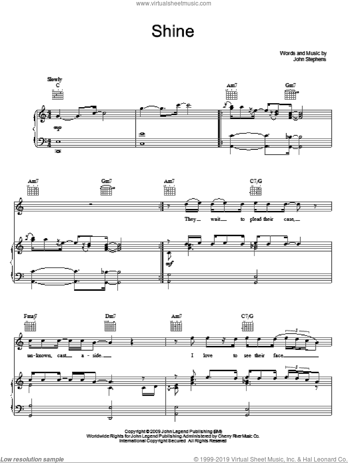 Shine sheet music for voice, piano or guitar by John Legend and John Stephens, intermediate skill level