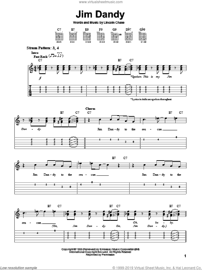 Jim Dandy sheet music for guitar solo (easy tablature) by Black Oak Arkansas, LaVern Baker and Lincoln Chase, easy guitar (easy tablature)