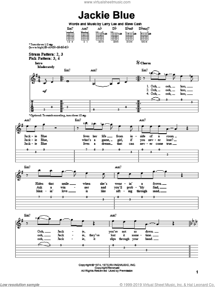 Jackie Blue sheet music for guitar solo (easy tablature) by Ozark Mountain Daredevils and Larry Lee, easy guitar (easy tablature). Score Image Preview.