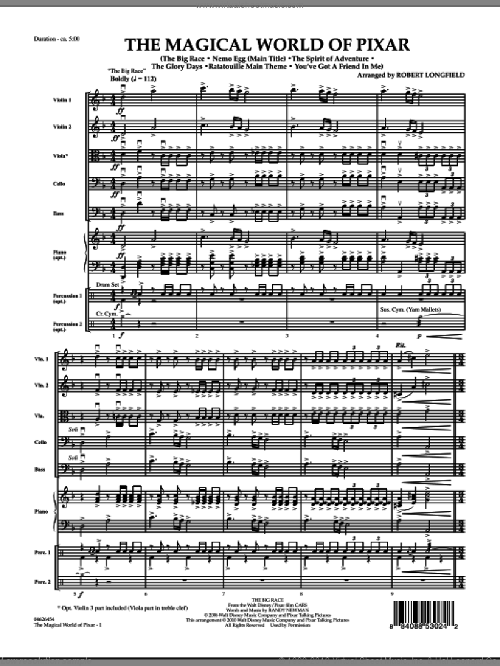 The Magical World Of Pixar (COMPLETE) sheet music for orchestra by Robert Longfield, intermediate. Score Image Preview.