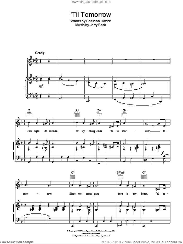 'Til Tomorrow sheet music for voice, piano or guitar by Sheldon Harnick and Jerry Bock. Score Image Preview.