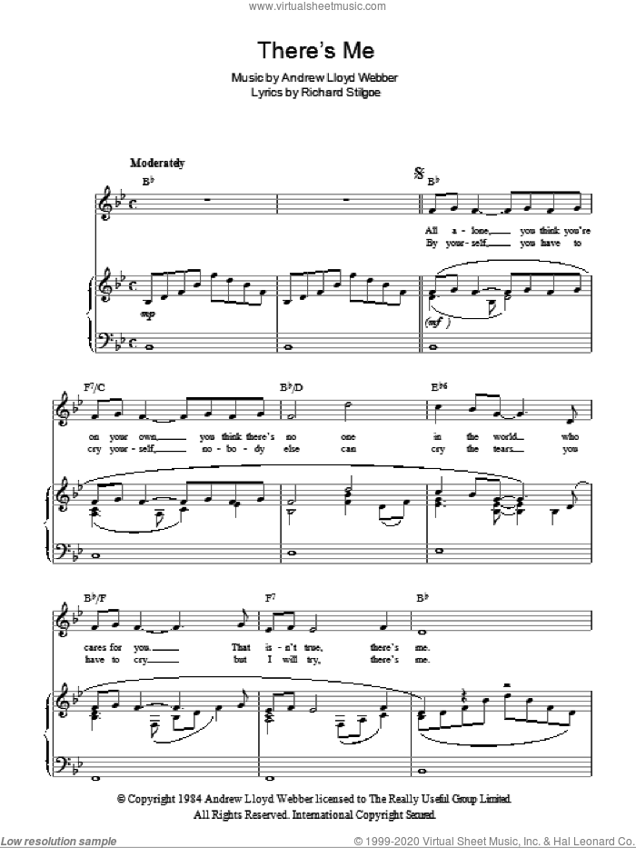 There's Me sheet music for voice, piano or guitar by Andrew Lloyd Webber. Score Image Preview.