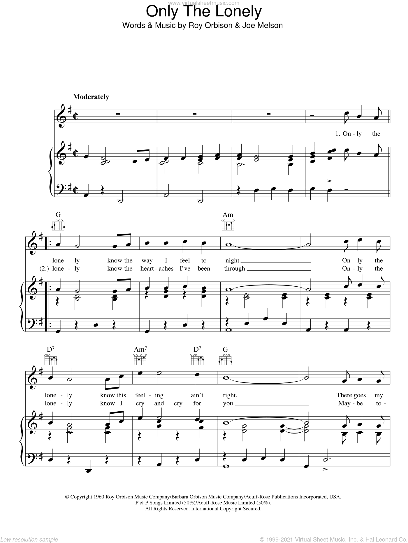 Only The Lonely sheet music for voice, piano or guitar by Joe Melson