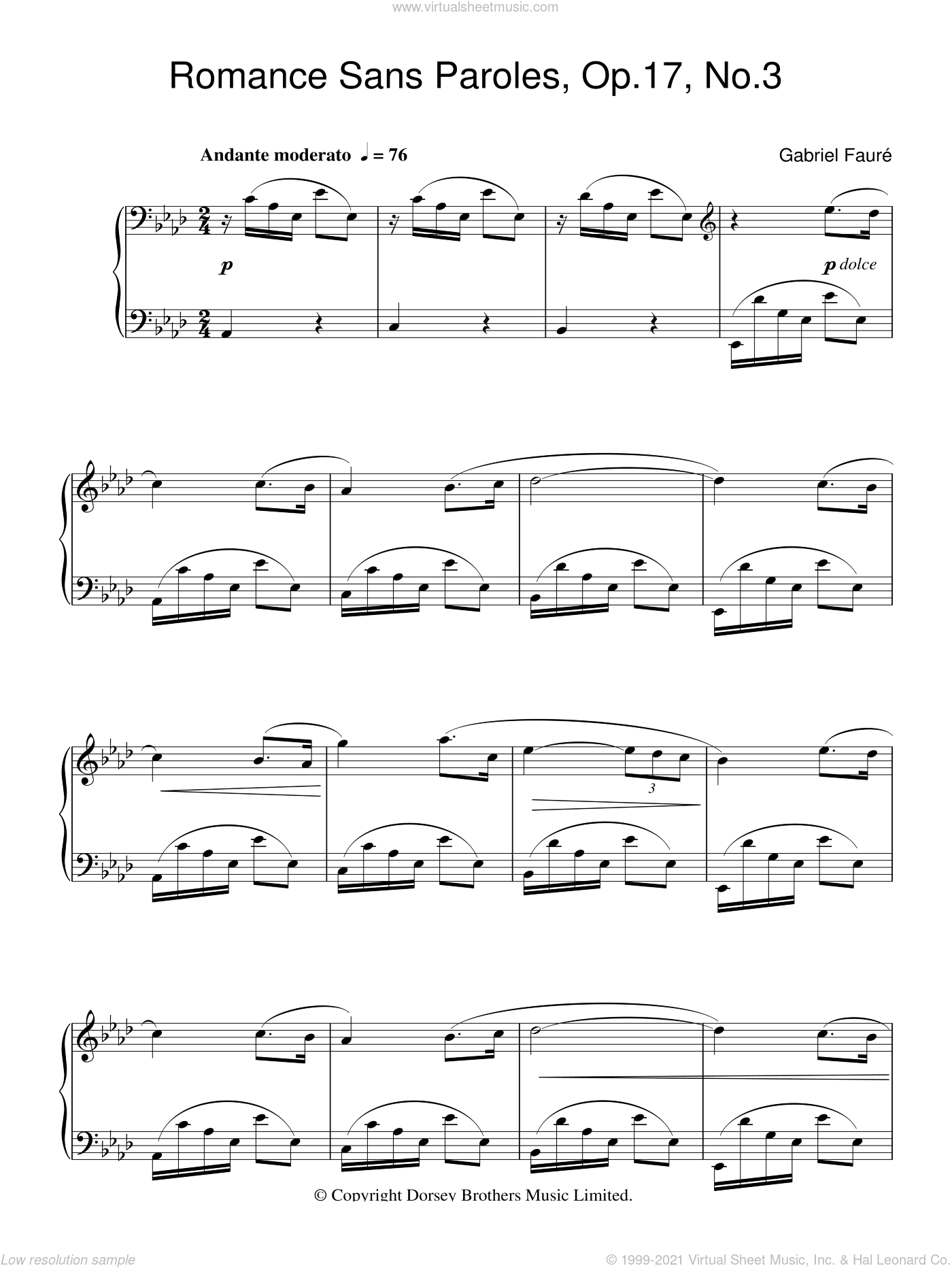 Romance Sans Paroles Op. 17, No. 3 sheet music for piano solo by Gabriel Faure, classical score, intermediate skill level