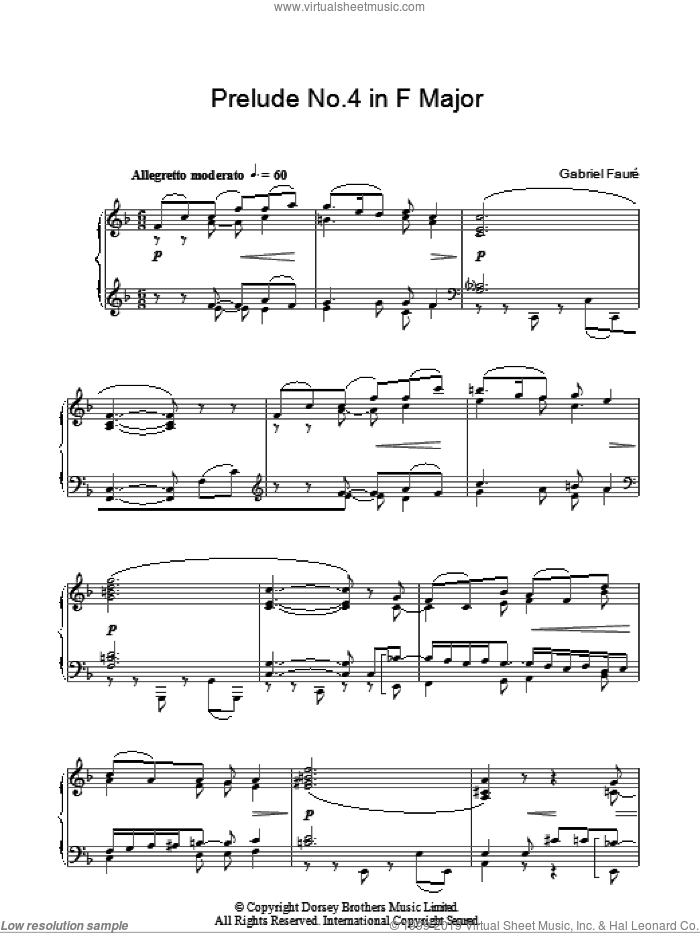 Prelude No. 4 In F sheet music for piano solo by Gabriel Faure