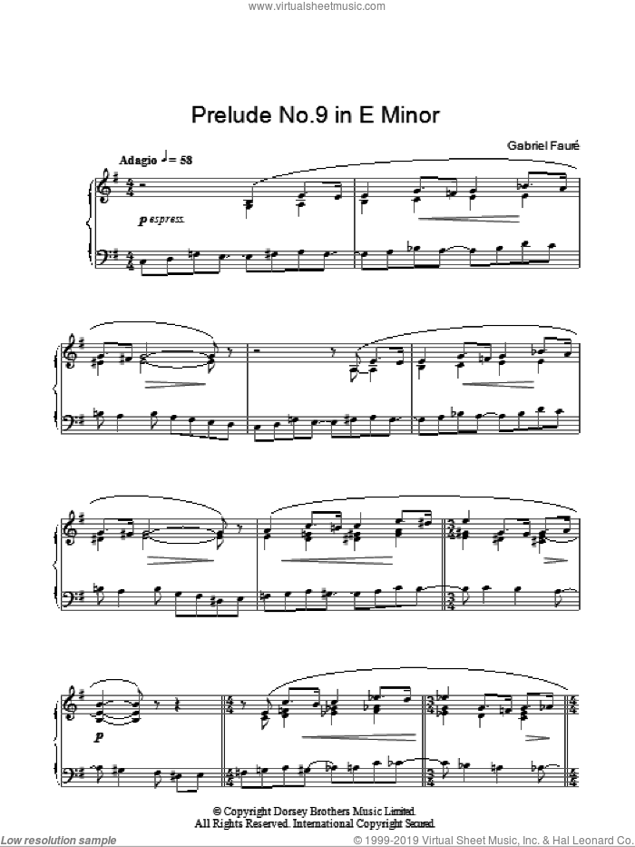 Prelude No. 9 In E Minor sheet music for piano solo by Gabriel Faure, classical score, intermediate. Score Image Preview.