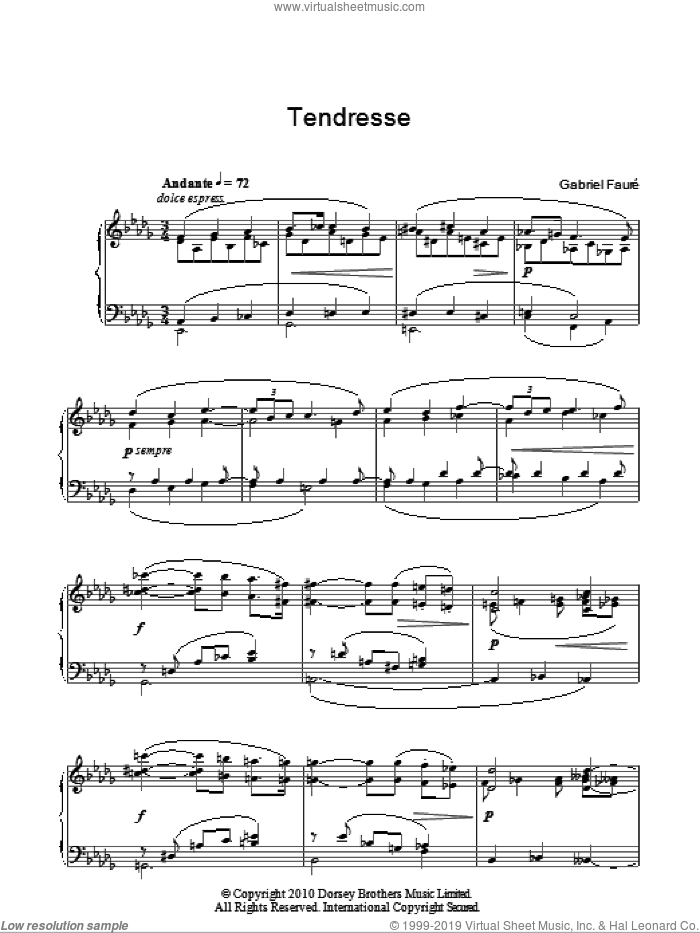 Tendresse sheet music for piano solo by Gabriel Faure. Score Image Preview.