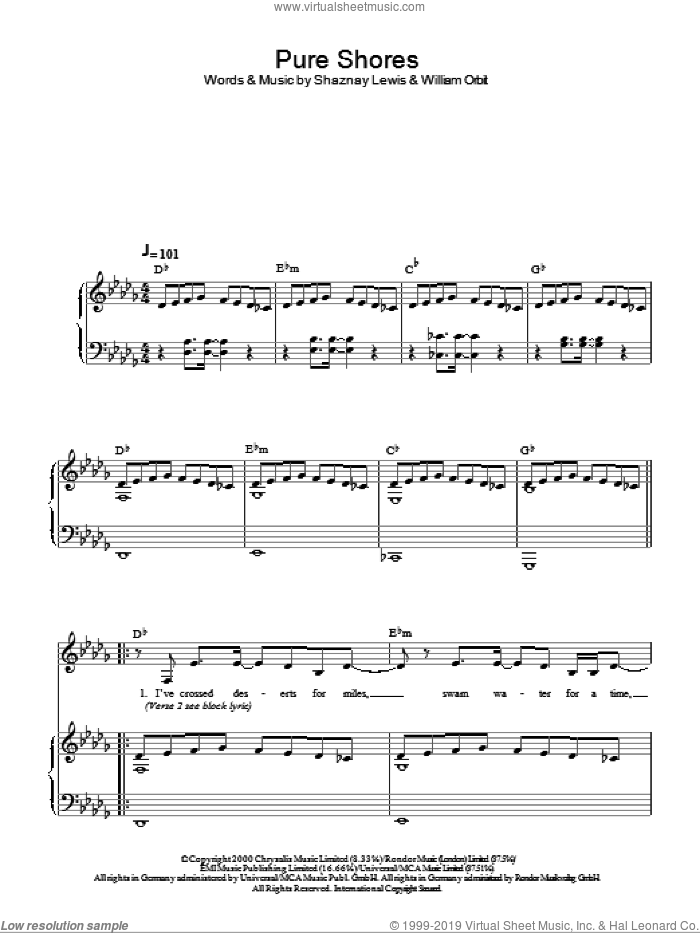 Pure Shores sheet music for piano solo by William Orbit