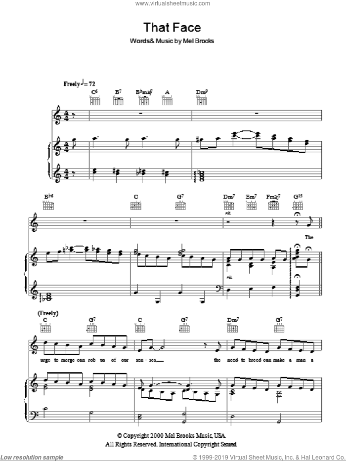 That Face sheet music for voice, piano or guitar by Mel Brooks and The Producers (Musical), intermediate skill level