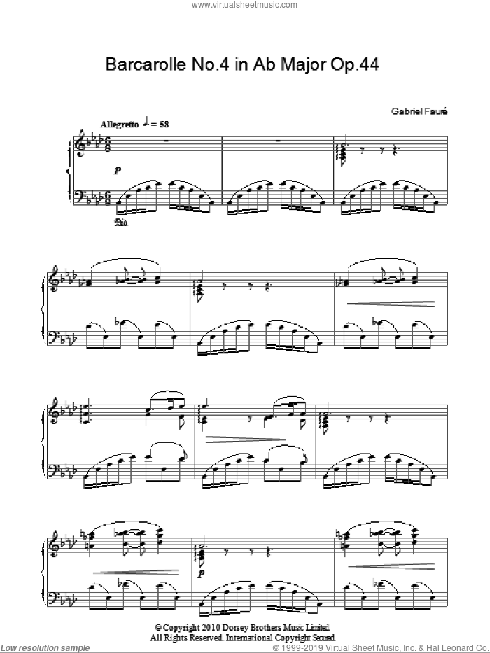 Barcarolle No. 4 In A Flat Major, Op. 44 sheet music for piano solo by Gabriel Faure, classical score, intermediate