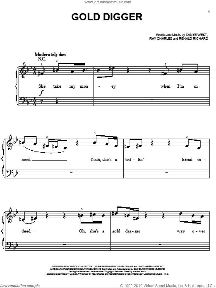 Gold Digger sheet music for piano solo by Kanye West, Miscellaneous, Ray Charles and Renald Richard, easy. Score Image Preview.