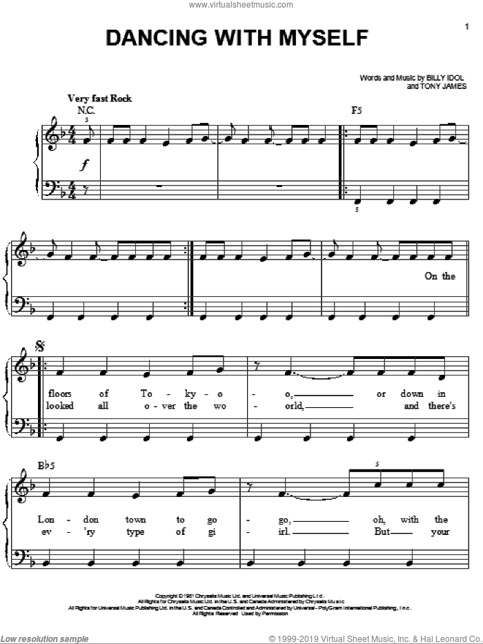 Dancing With Myself sheet music for piano solo by Tony James, Miscellaneous and Billy Idol. Score Image Preview.