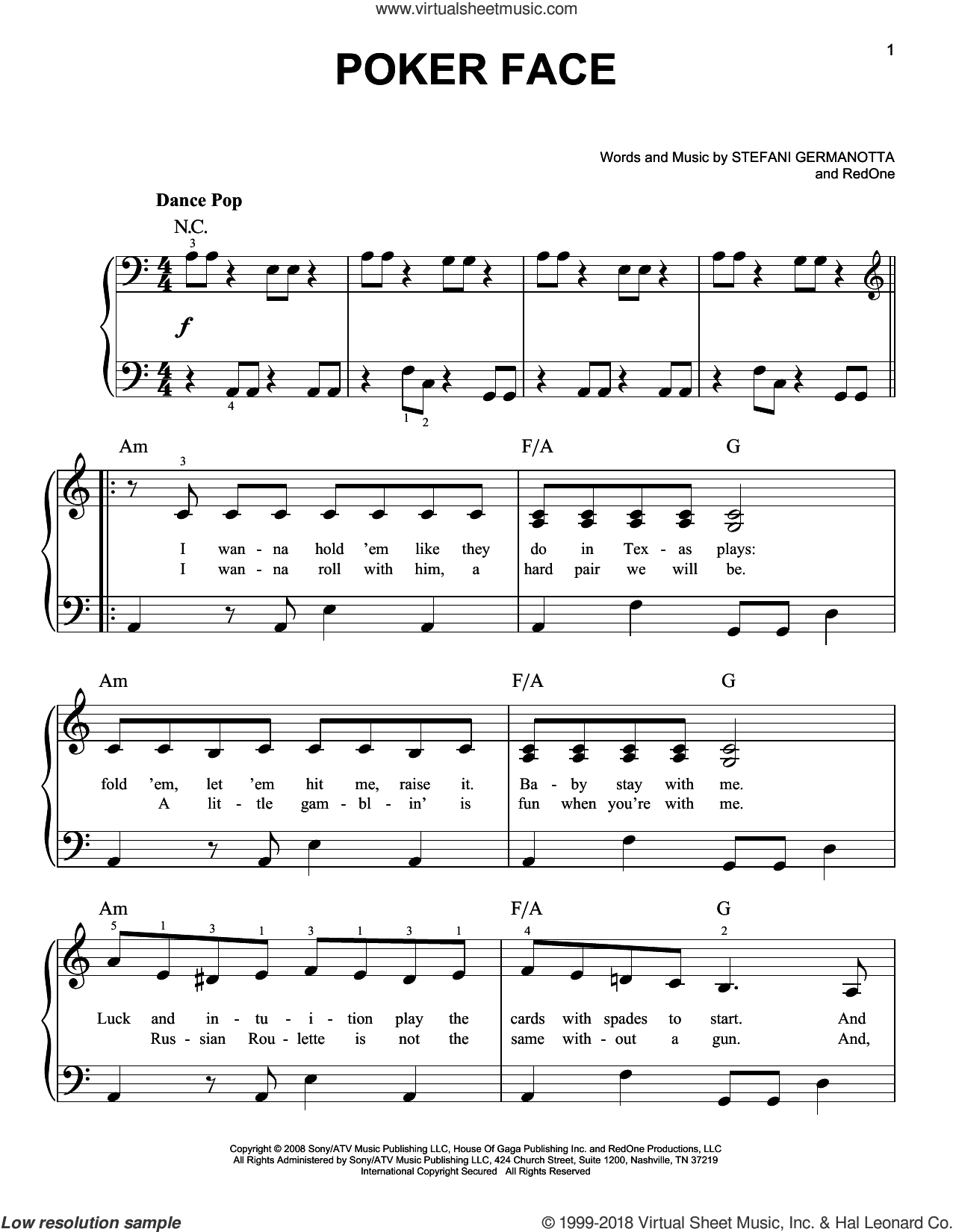 Poker Face sheet music for piano solo by Lady GaGa and RedOne, easy skill level