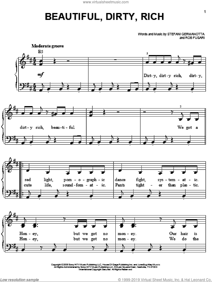 Beautiful, Dirty, Rich sheet music for piano solo (chords) by Lady Gaga