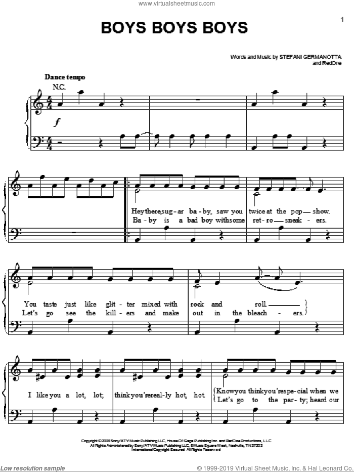 Boys Boys Boys sheet music for piano solo by Lady Gaga and RedOne. Score Image Preview.