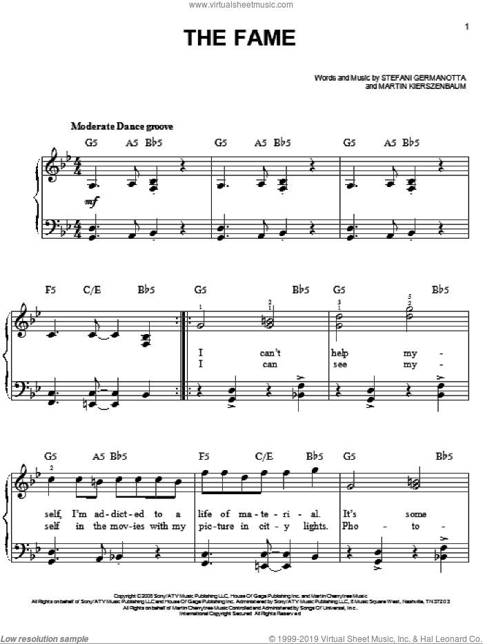The Fame sheet music for piano solo by Lady GaGa and Martin Kierszenbaum, easy skill level