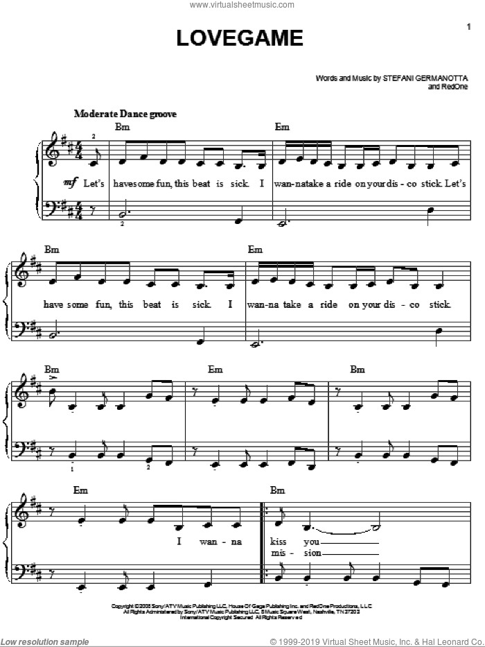Lovegame sheet music for piano solo by Lady GaGa, easy. Score Image Preview.