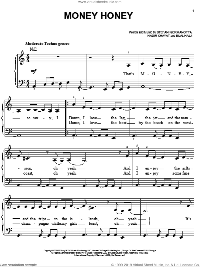 Money Honey sheet music for piano solo (chords) by Lady Gaga