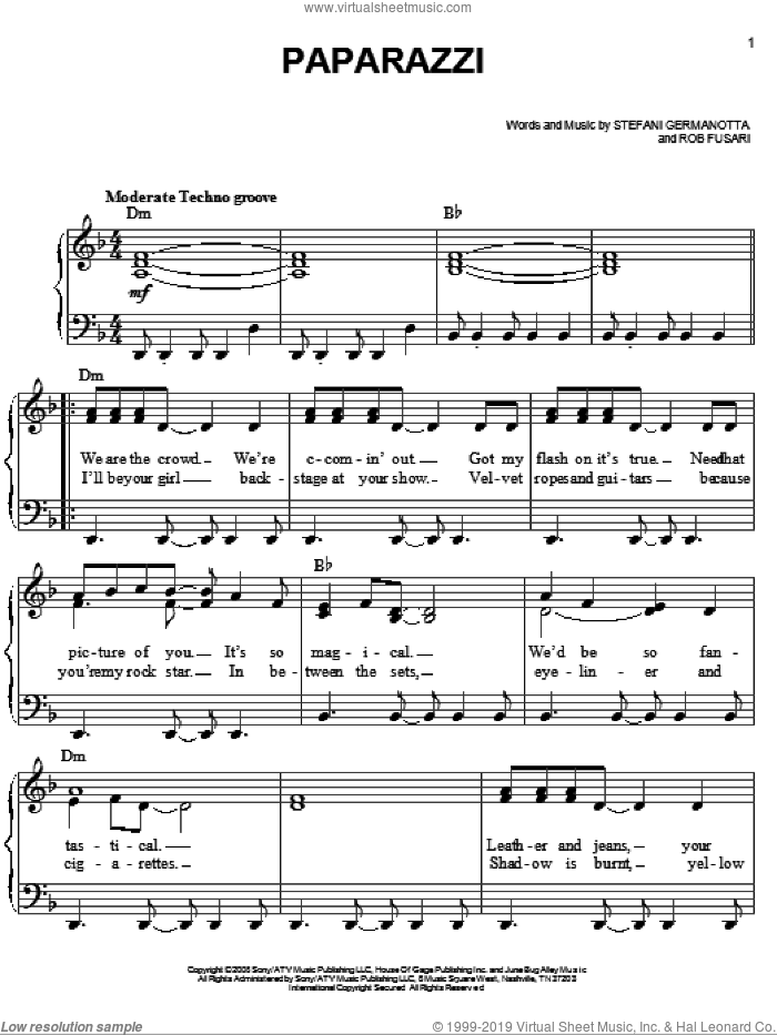 Paparazzi sheet music for piano solo (chords) by Lady Gaga