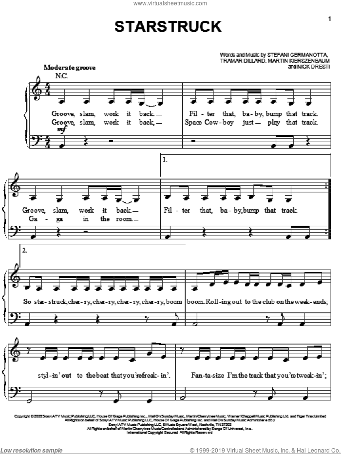 Starstruck sheet music for piano solo by Lady GaGa, Martin Kierszenbaum, Nick Dresti and Tramar Dillard, easy skill level