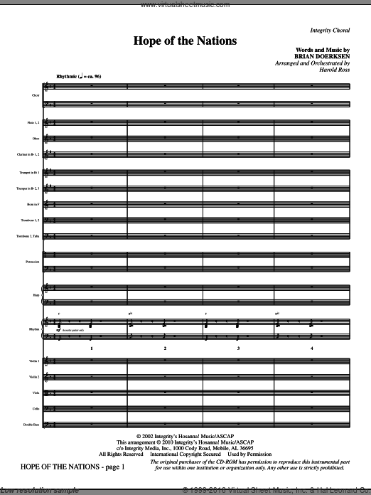 Hope Of The Nations (COMPLETE) sheet music for orchestra by Brian Doerksen and Harold Ross. Score Image Preview.