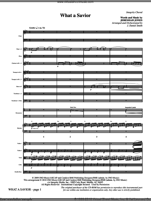 What A Savior (COMPLETE) sheet music for orchestra by Jeremiah Jones and J. Daniel Smith. Score Image Preview.