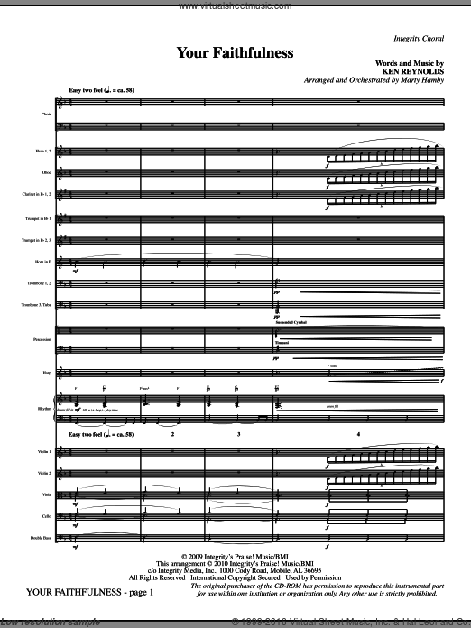 Your Faithfulness (COMPLETE) sheet music for orchestra by Ken Reynolds and Marty Hamby. Score Image Preview.