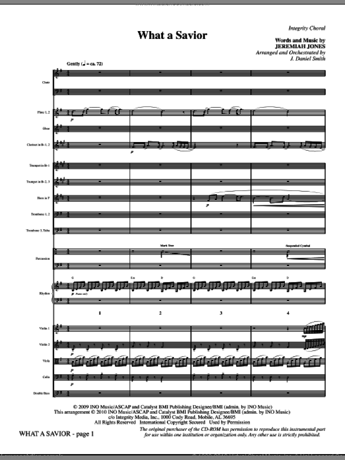 What A Savior (complete set of parts) sheet music for orchestra/band (Orchestra) by J. Daniel Smith and Jeremiah Jones, intermediate. Score Image Preview.
