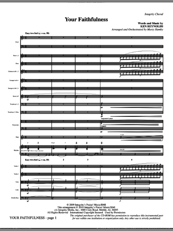 Your Faithfulness (complete set of parts) sheet music for orchestra/band (Orchestra) by Ken Reynolds and Marty Hamby, intermediate skill level