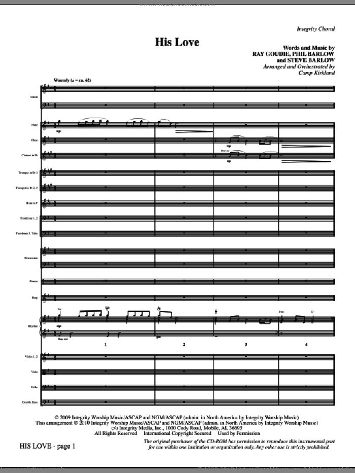 His Love (complete set of parts) sheet music for orchestra/band (Orchestra) by Camp Kirkland, Phil Barlow, Ray Goudie and Steve Barlow, intermediate skill level