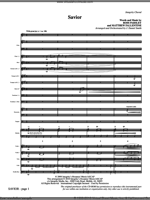 Savior (COMPLETE) sheet music for orchestra by Matthew Fallentine and J. Daniel Smith. Score Image Preview.