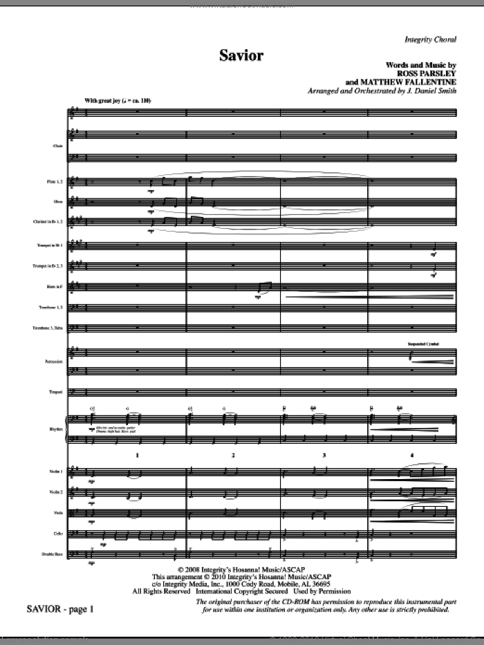 Savior (complete set of parts) sheet music for orchestra/band (Orchestra) by J. Daniel Smith, Matthew Fallentine and Ross Parsley, intermediate skill level