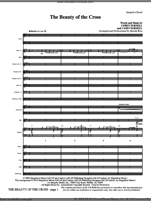 The Beauty Of The Cross (COMPLETE) sheet music for orchestra by Casey Parnell and Harold Ross. Score Image Preview.