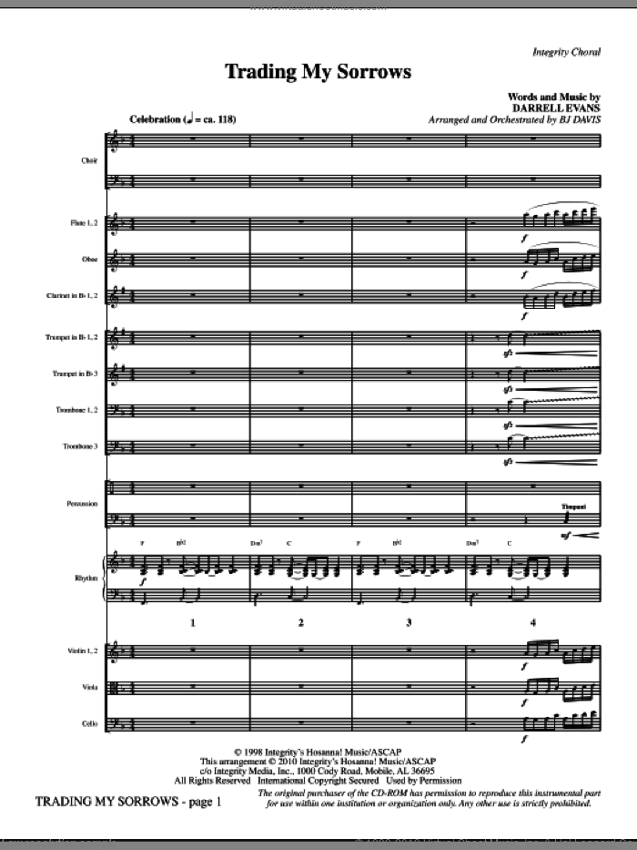 Trading My Sorrows (complete set of parts) sheet music for orchestra/band (Orchestra) by Darrell Evans and BJ Davis, intermediate skill level