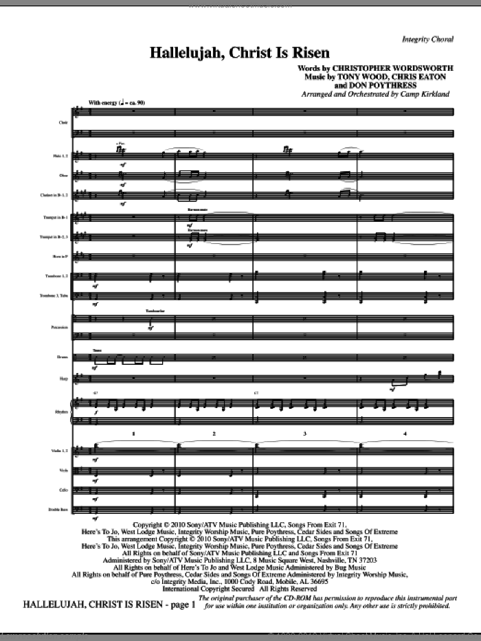 Hallelujah, Christ Is Risen (complete set of parts) sheet music for orchestra/band (Orchestra) by Tony Wood, Chris Eaton, Don Poythress, Camp Kirkland and Christopher Wordsworth, intermediate. Score Image Preview.