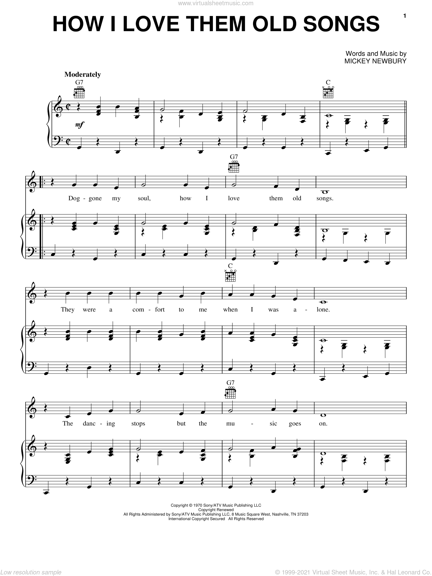 How I Love Them Old Songs sheet music for voice, piano or guitar by Mickey Newbury, intermediate skill level