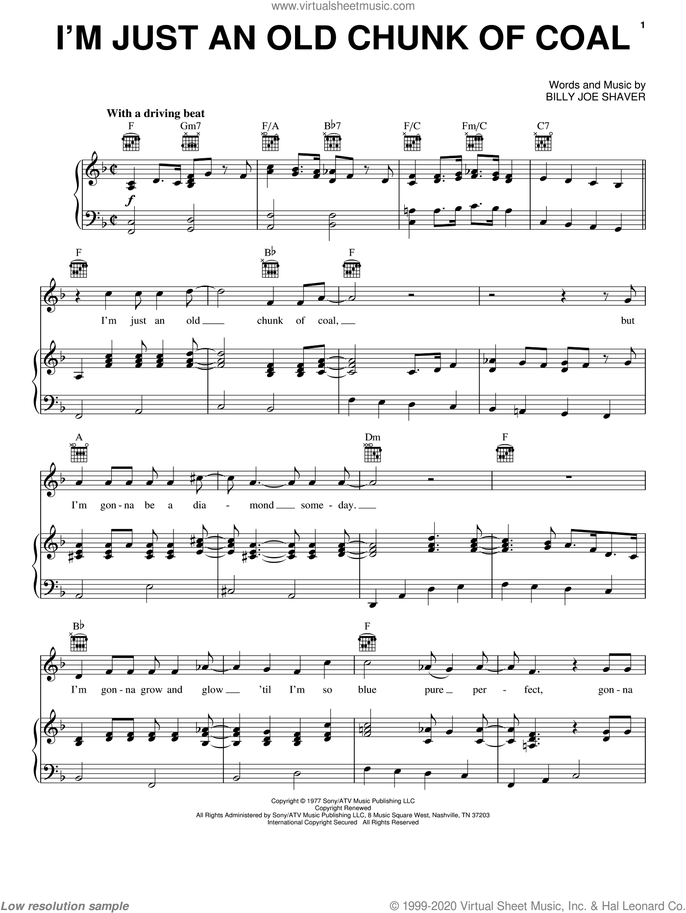 I'm Just An Old Chunk Of Coal sheet music for voice, piano or guitar by Billy Joe Shaver