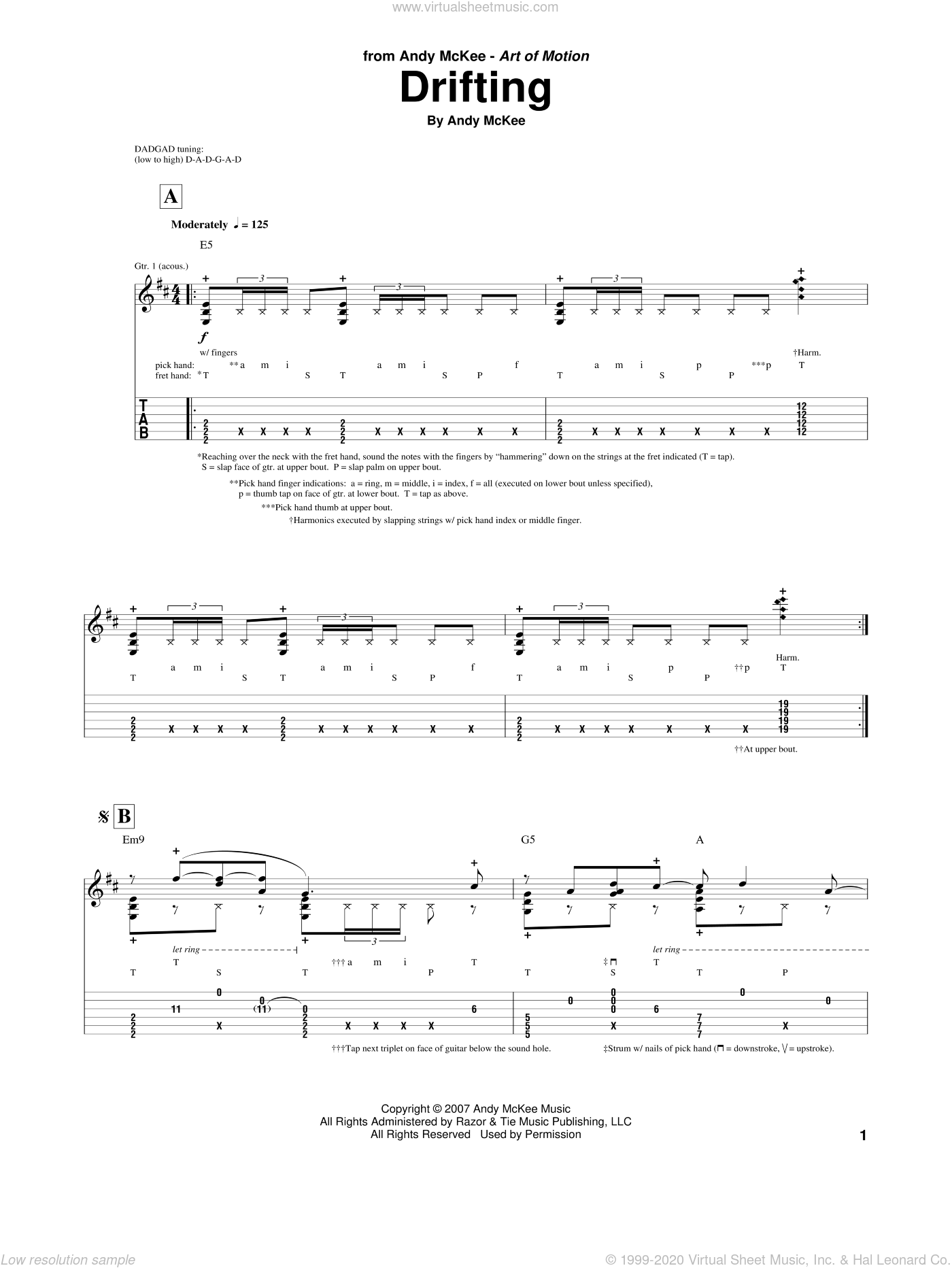 Drifting sheet music for guitar (tablature) by Andy McKee, intermediate