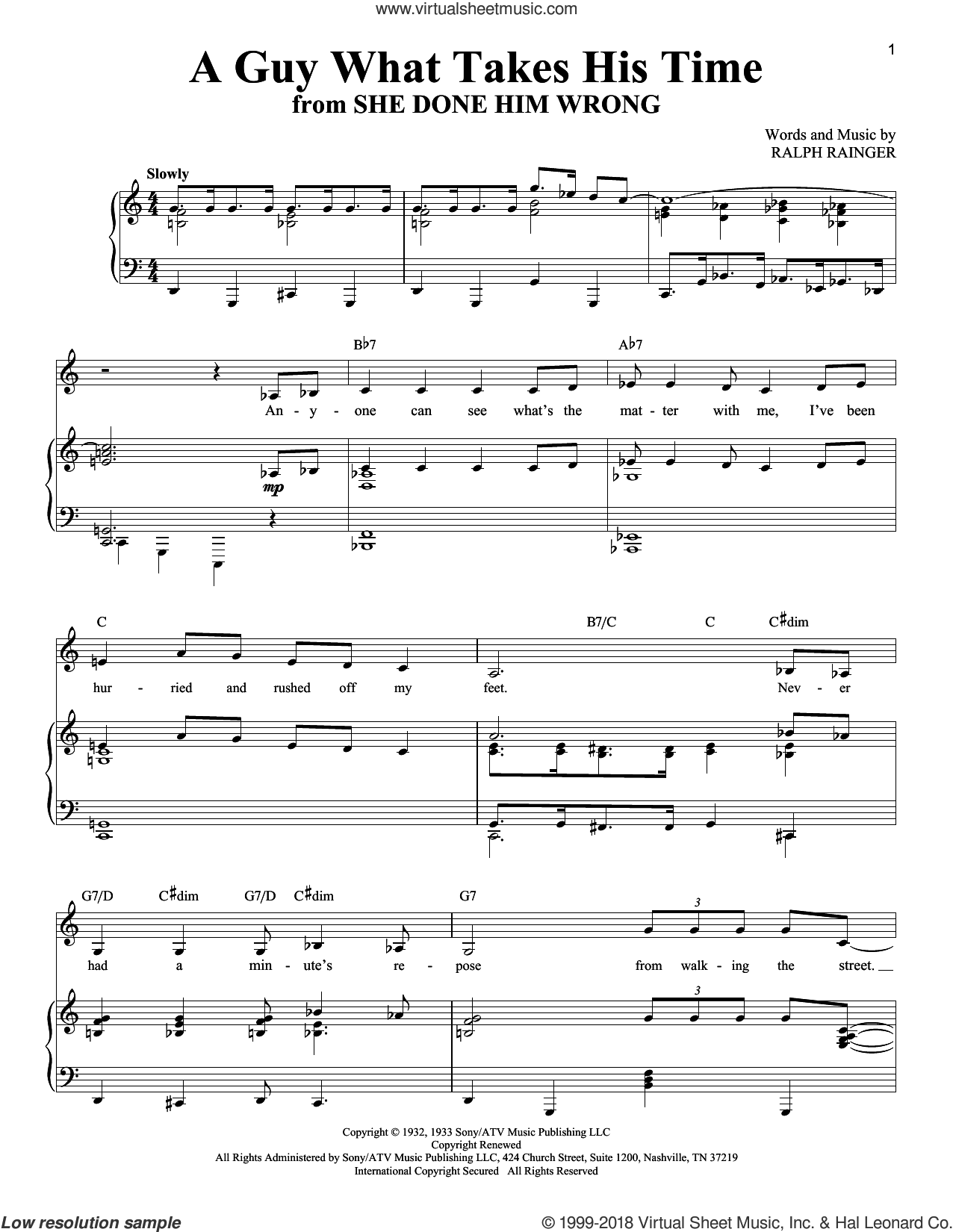 A Guy What Takes His Time sheet music for voice and piano by Mae West and Ralph Rainger, intermediate skill level