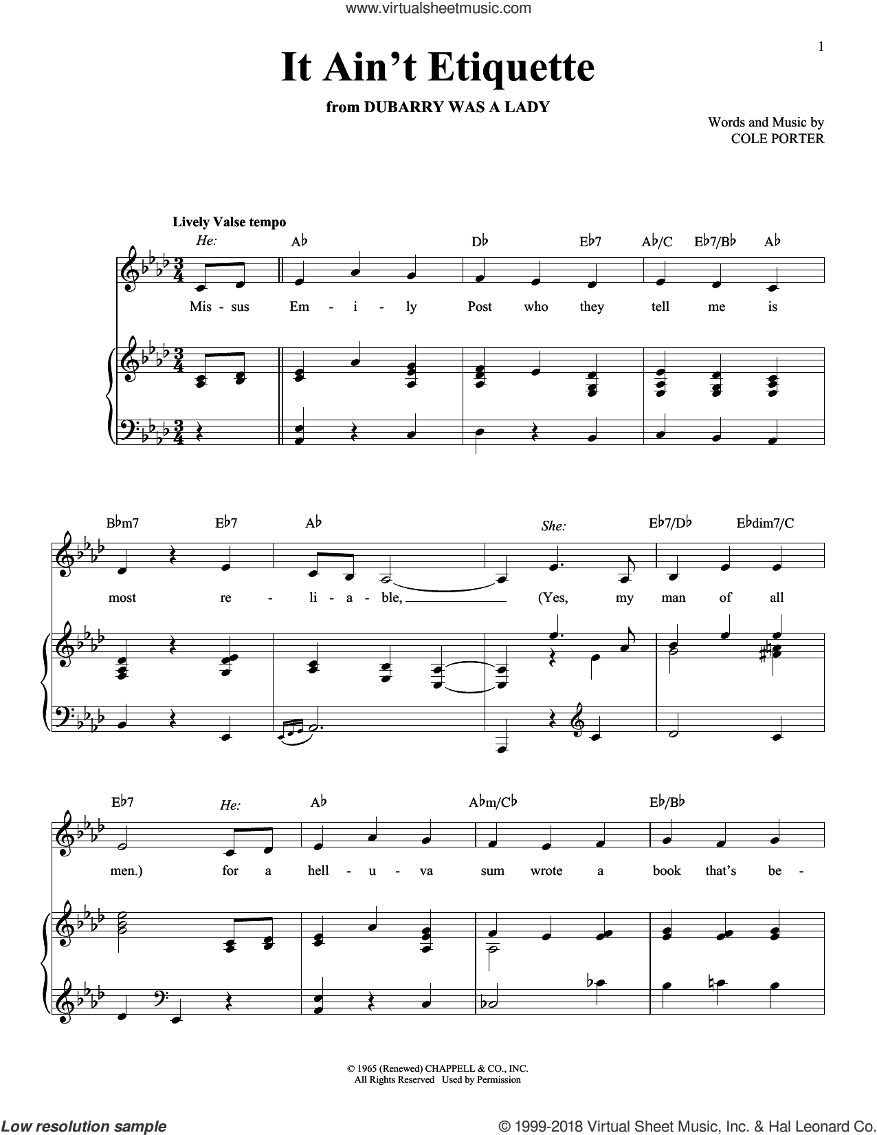 It Ain't Etiquette sheet music for voice and piano by Cole Porter, intermediate voice. Score Image Preview.
