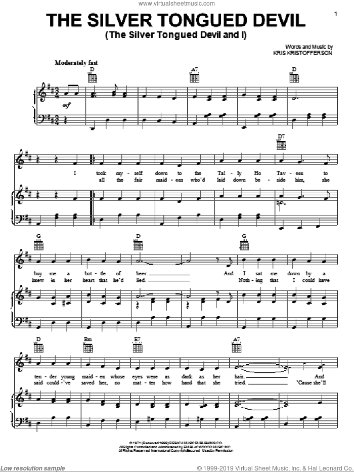 The Silver Tongued Devil (The Silver Tongued Devil And I) sheet music for voice, piano or guitar by Kris Kristofferson, intermediate