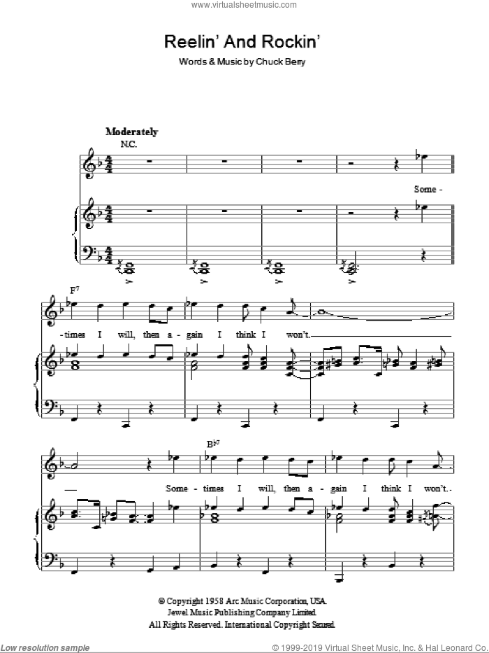 Reelin' And Rockin' sheet music for voice, piano or guitar by Chuck Berry, intermediate skill level