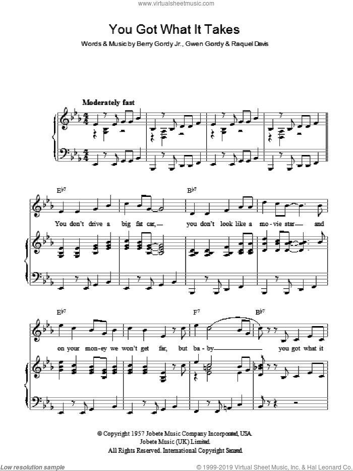You Got What It Takes sheet music for voice, piano or guitar by Billy Davis