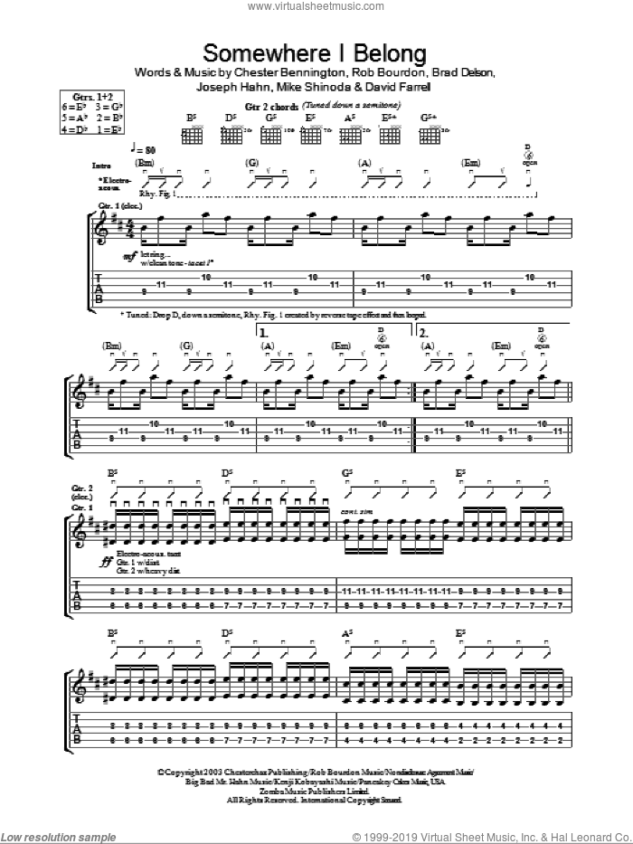 Somewhere I Belong sheet music for guitar (tablature) by Linkin Park, Brad Delson, Chester Bennington, David Farrell, Joseph Hahn, Mike Shinoda and Rob Bourdon, intermediate skill level