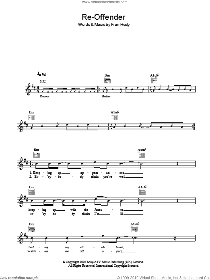 Re-offender sheet music for voice and other instruments (fake book) by Merle Travis and Fran Healy, intermediate. Score Image Preview.